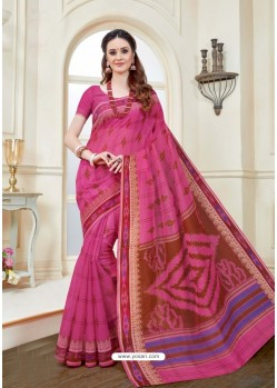 Groovy Fuchsia Cotton Saree