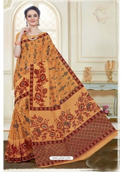 Magnificent Orange Cotton Saree