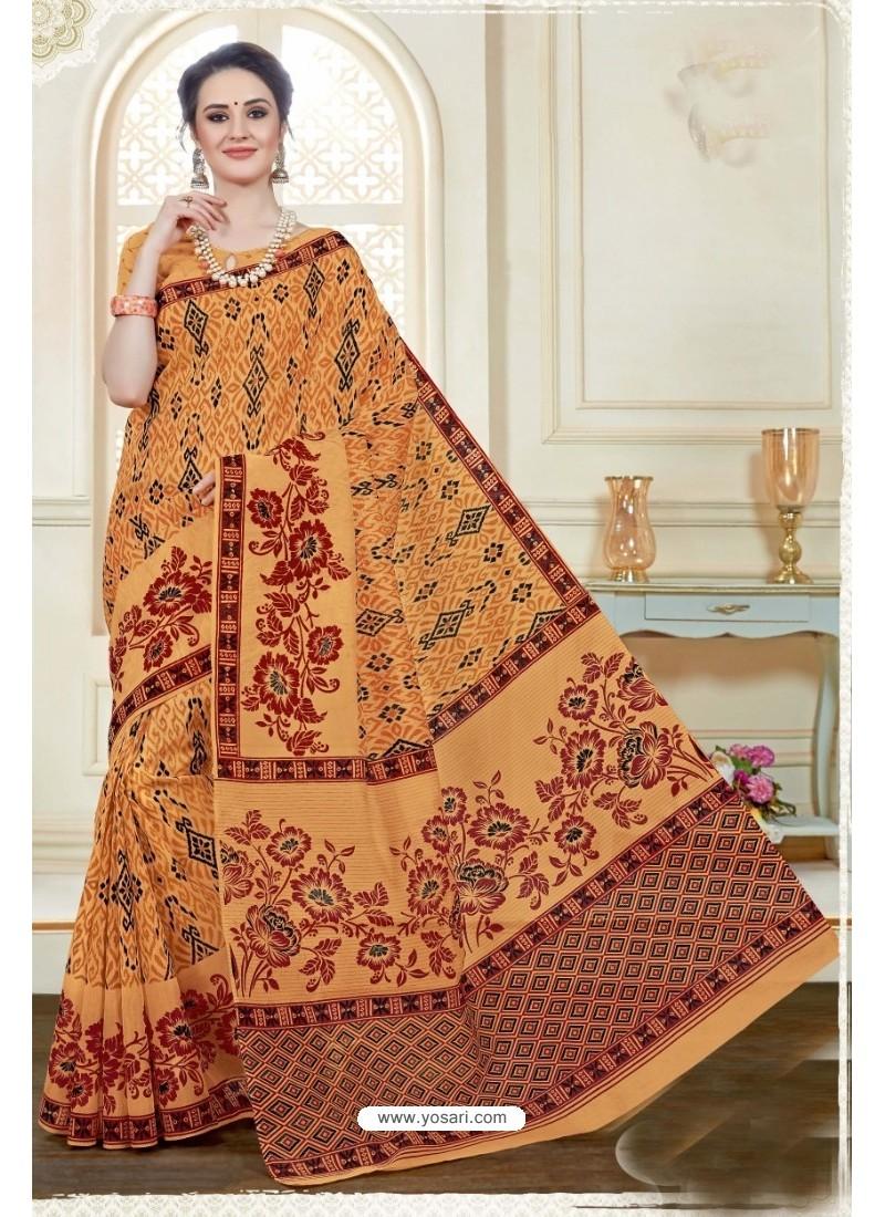 Magnificent Orange Cotton Saree