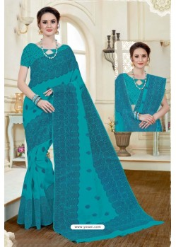 Modern Turquoise Cotton Saree