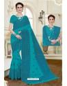 Modern Turquoise Cotton Saree