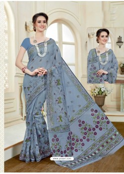 Fabulous Dull Grey Cotton Saree