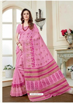 Lovely Pink Cotton Saree