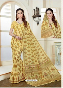 Decent Lemon Cotton Saree