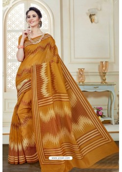 Dazzling Camel Cotton Saree