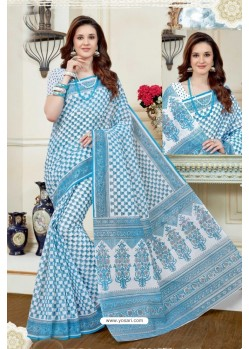 Imperial Turquoise Cotton Saree