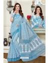 Imperial Turquoise Cotton Saree