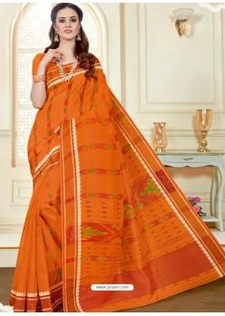 Traditional Orange Cotton Saree