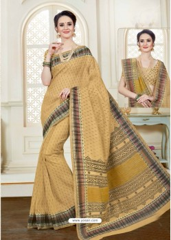 Adorable Beige Cotton Saree