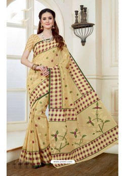 Traditional Beige Cotton Saree