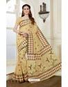 Traditional Beige Cotton Saree