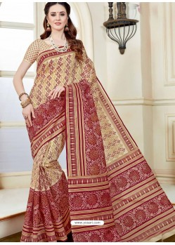 Beige Designer Cotton Saree