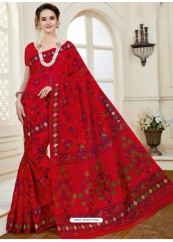 Beautiful Red Cotton Saree