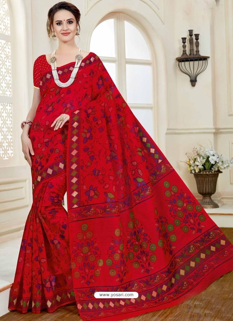 Beautiful Red Cotton Saree