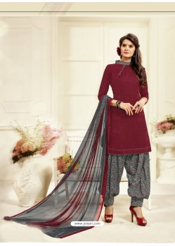 Beautiful Maroon Cotton Printed Suit