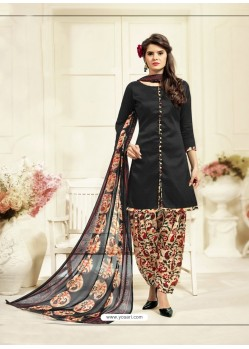 Impressive Black Cotton Printed Suit