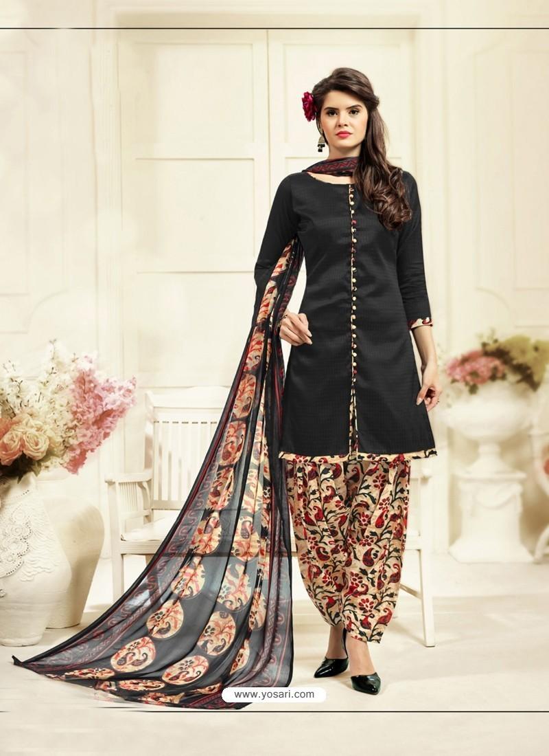 Impressive Black Cotton Printed Suit