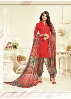 Stylish Red Cotton Printed Suit
