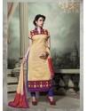 Cream And Blue Chanderi Silk Salwar Kameez