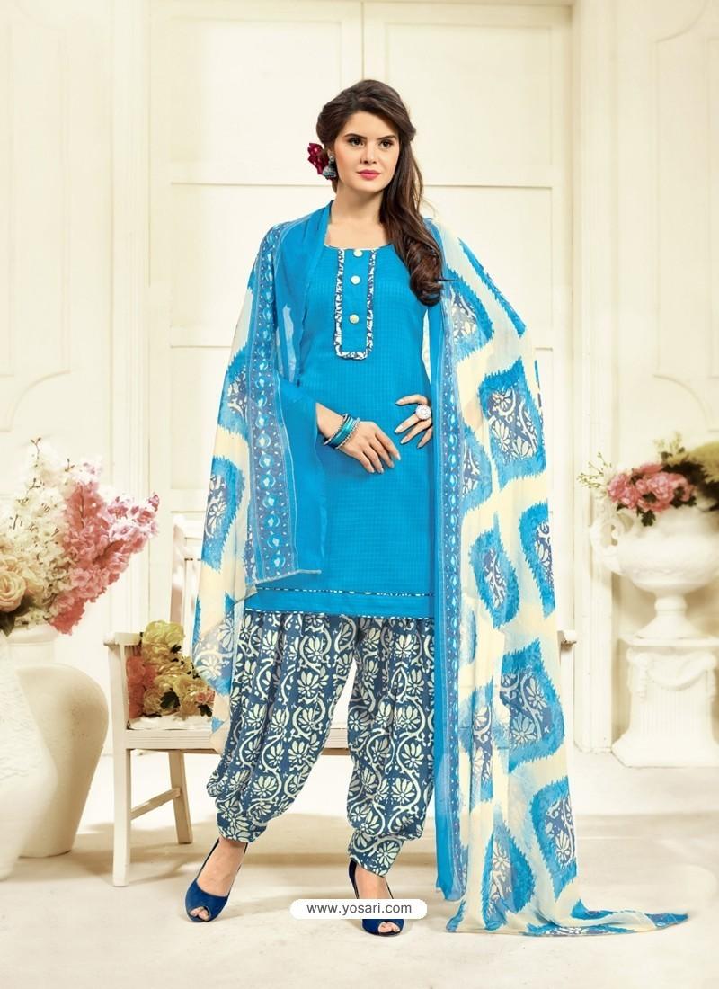 Trendy Blue Cotton Printed Suit