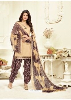 Groovy Cream Cotton Printed Suit