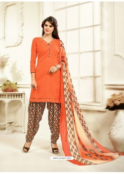 Impressive Orange Cotton Printed Suit