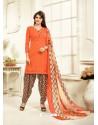 Impressive Orange Cotton Printed Suit