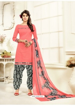 Beautiful Peach Cotton Printed Suit