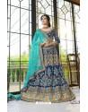Royal Blue Net Embroidered Lehenga Choli