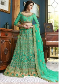 Sea Green Net Embroidered Lehenga Choli