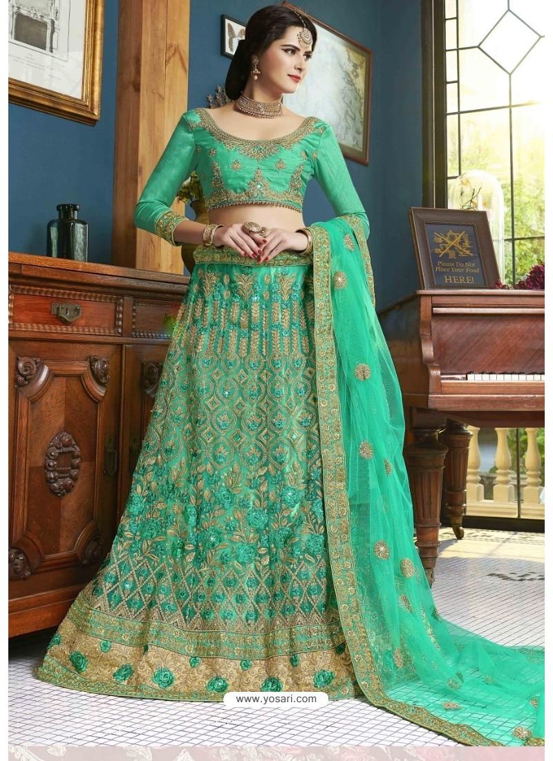 Sea Green Net Embroidered Lehenga Choli