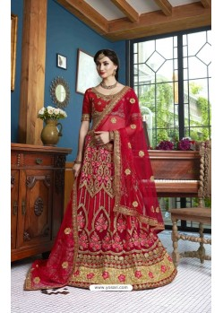 Wine Net Embroidered Lehenga Choli