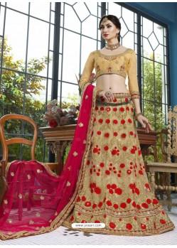 Beige Net Embroidered Lehenga Choli