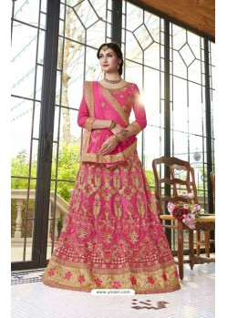 Fuchsia Net Embroidered Lehenga Choli