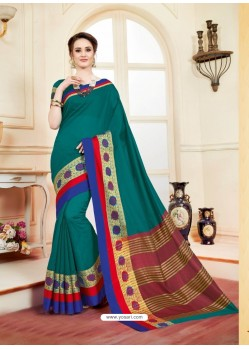 Incredible Teal Cotton Silk Saree