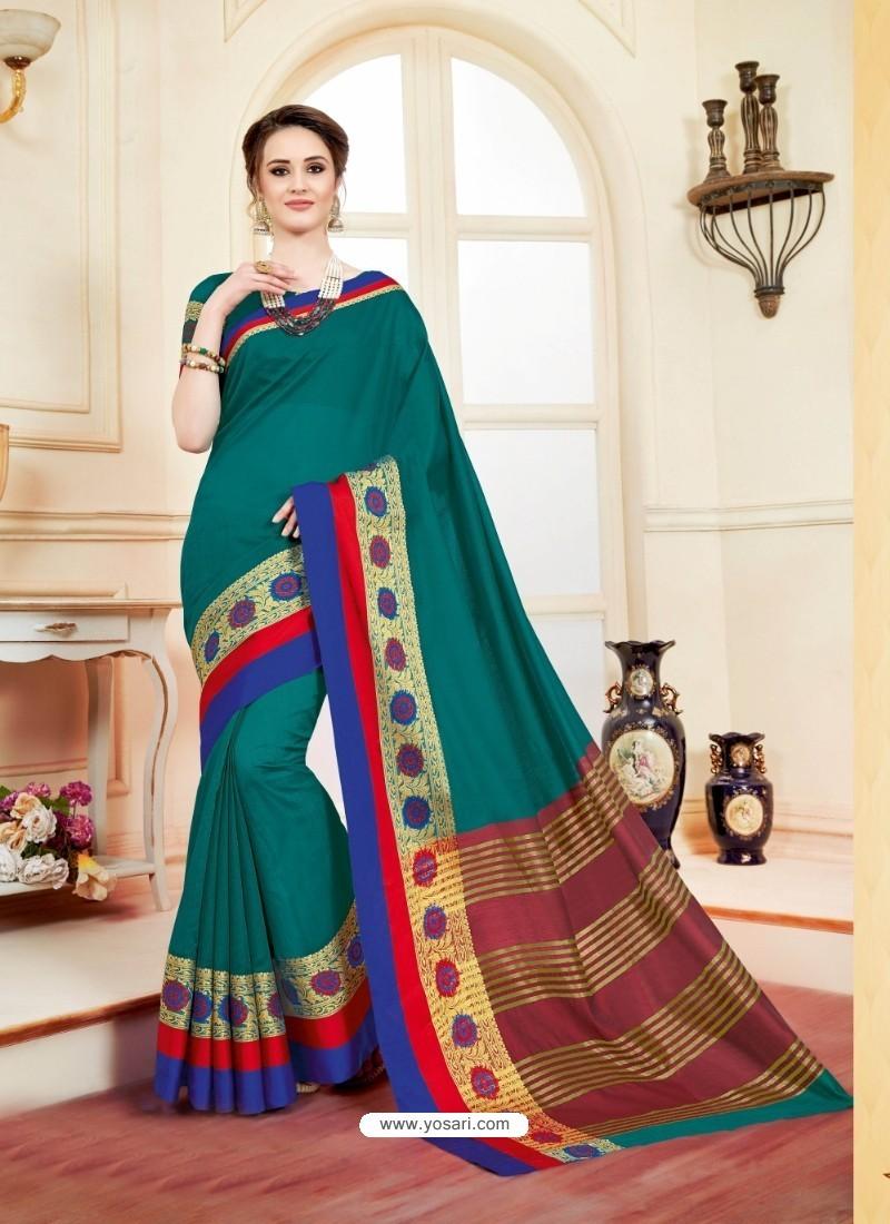 Incredible Teal Cotton Silk Saree