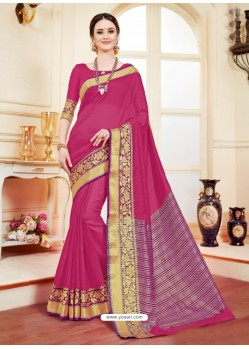 Groovy Fuchsia Cotton Silk Saree