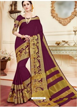 Magnificent Maroon Cotton Silk Saree