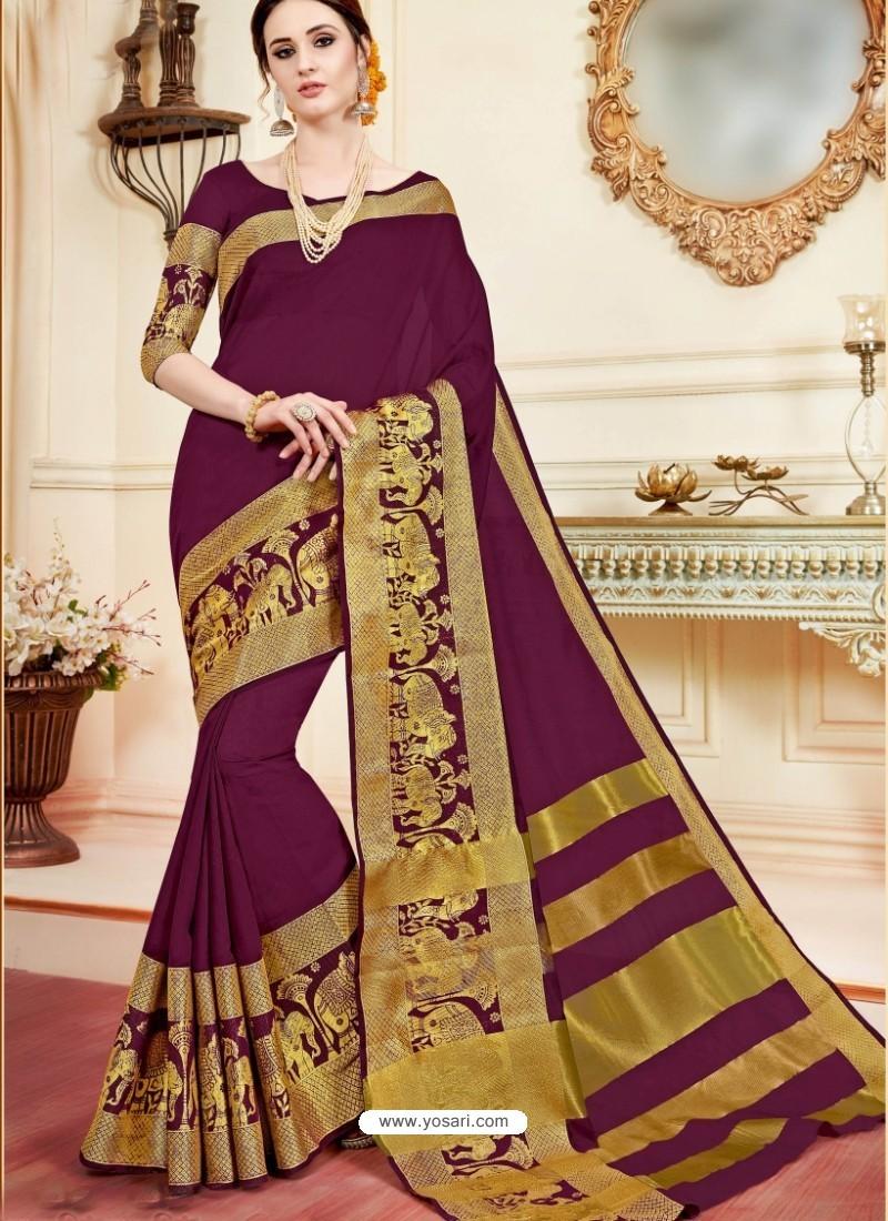 Magnificent Maroon Cotton Silk Saree