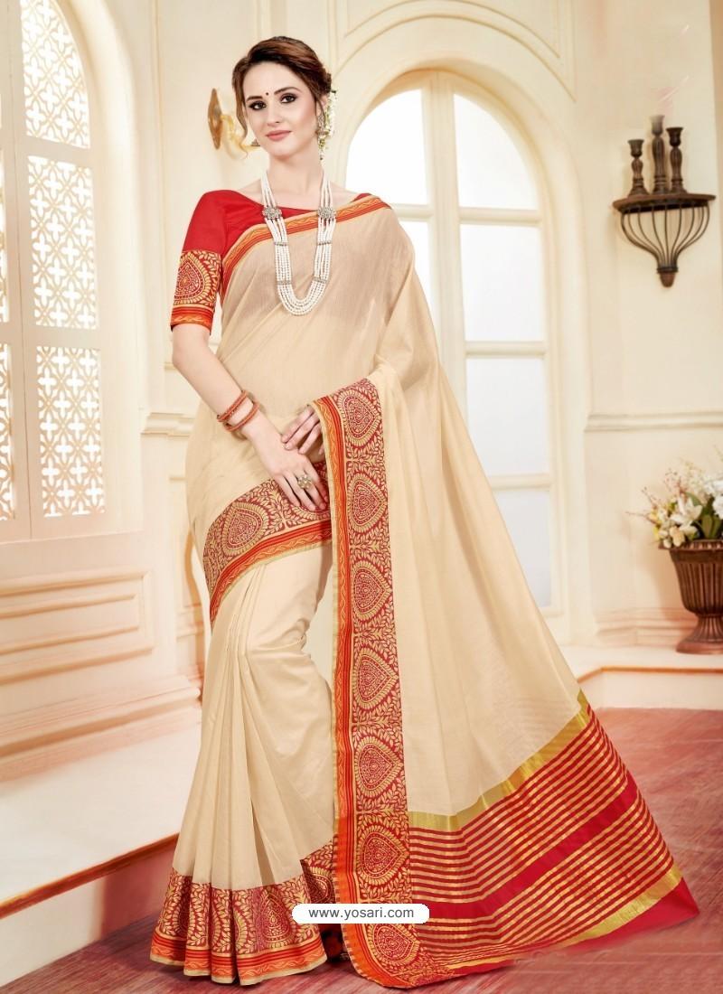 Modern Light Beige Cotton Silk Saree