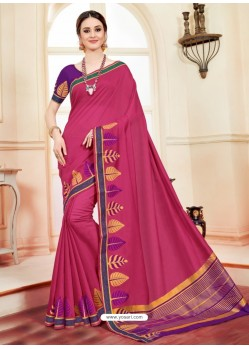 Fabulous Crimson Cotton Silk Saree