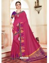 Fabulous Crimson Cotton Silk Saree