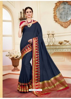 Lovely Navy Blue Cotton Silk Saree