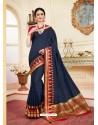 Lovely Navy Blue Cotton Silk Saree