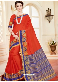 Decent Orange Cotton Silk Saree