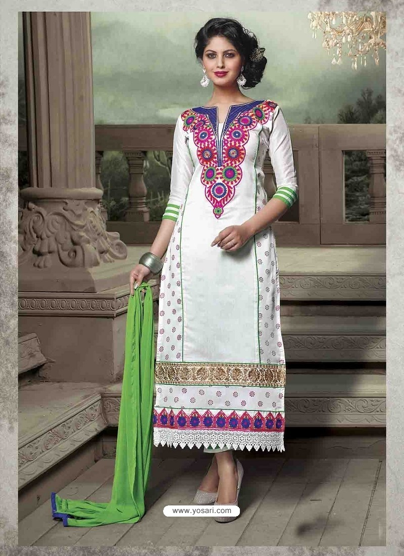 White Chanderi Silk Salwar Kameez