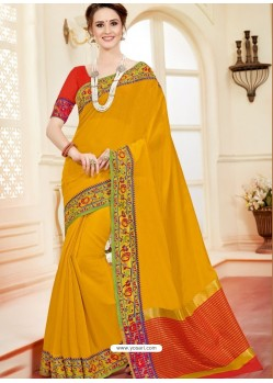 Dazzling Yellow Cotton Silk Saree