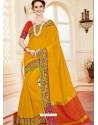 Dazzling Yellow Cotton Silk Saree