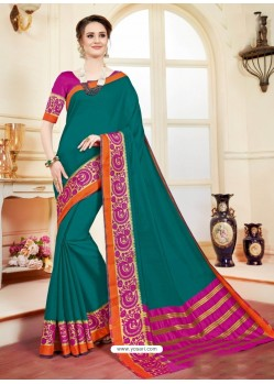 Imperial Teal Cotton Silk Saree
