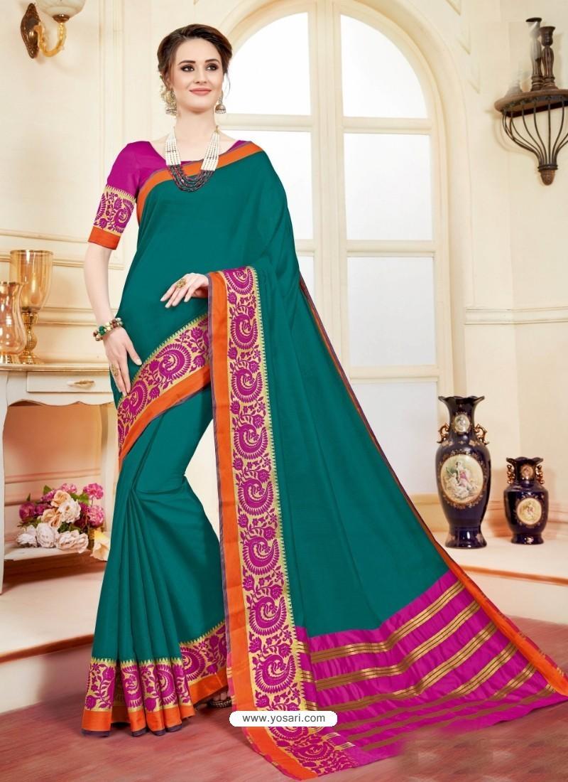 Imperial Teal Cotton Silk Saree